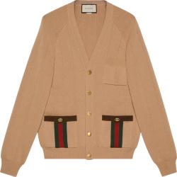 Gucci Beige And Web Striped Pocket Wool Cardigan 626349xkbfj2184