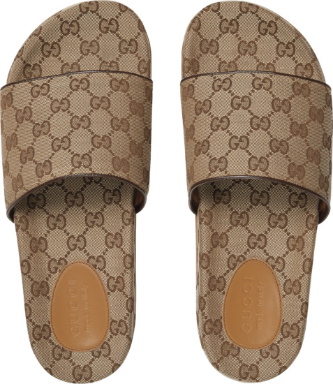 Gucci Beige Brown Gg Canvas Slides