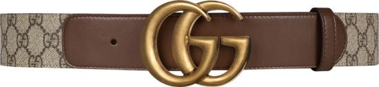 Gucci Beige Canvas Brown Leather Gold Gg Belt 400593 92tlt 8358