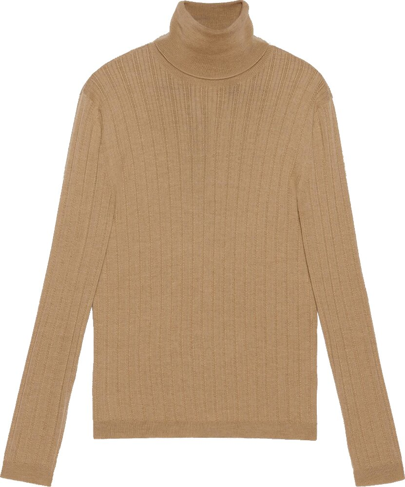 Gucci Beige Fine Wool Turtleneck Sweater