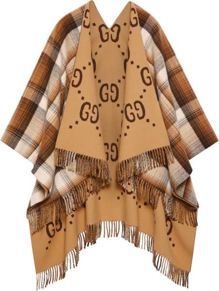 Gucci Beige Gg And Beid Brown White Check Reversible Poncho