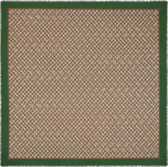 Gucci Beige Gg Horsebit And Green Border Fringed Scarf