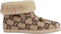 Gucci Beige Gg Wool Ankle Boots