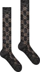 Black & Beige Logo Jacquard Socks