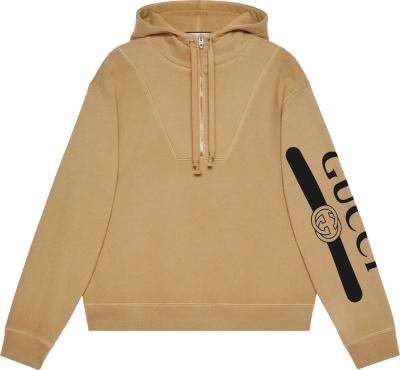 Gucci Beige Quarter Zip Sleeve Print Hoodie 627079 Xjcoh 2101