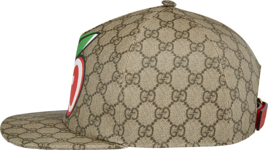 Gucci Beige Supreme Canvas Apple Gg Logo Print Hat