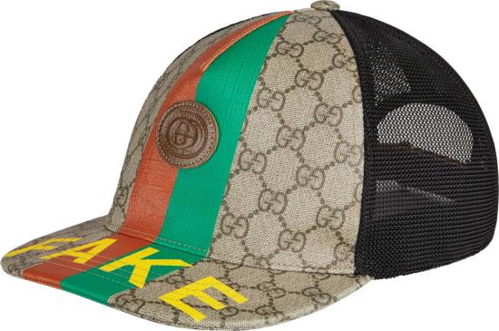 Gucci Biege Canvas And Stripe Fake Trucker Hat