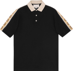 Gucci Black And Beige Gg Stripe Poloe Shirt