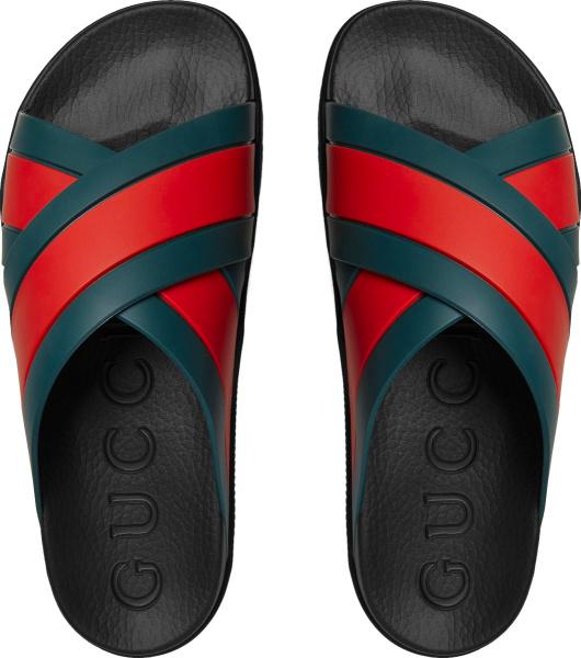 Gucci Black And Double Web Strap Slides