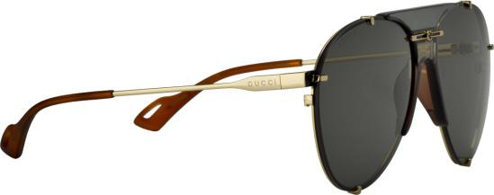 Gucci Black And Gold Aviator Sunglasses