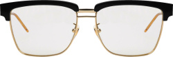 Gucci Black And Gold Double Brow Glasses