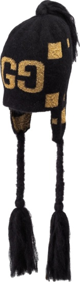 Gucci Black And Gold Tassel Beanie