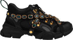 Gucci Black And Green Crystal Flashtrek Sneakers