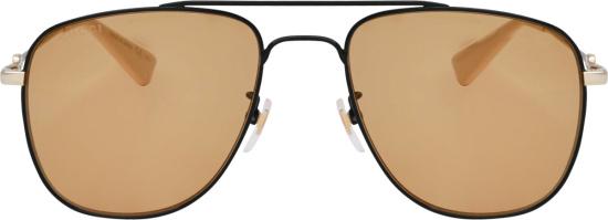 Gucci Black And Orange Metal Aviator Sunglasses