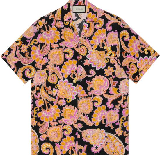 Gucci Black And Pink Paisley Shirt