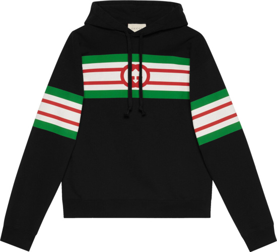Gucci Black And Striped Panel Overiszed Hoodie 646953 Xjdah 1082