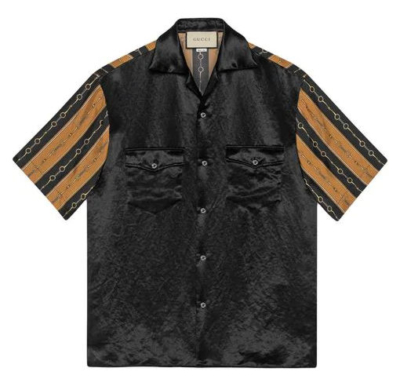 Gucci Black Bowling Shirt With Black And Brown Striped Arms Worn By Meek Mill