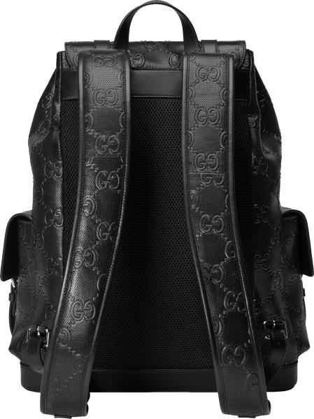 Gucci Black Gg Embossed Perforated Backpack