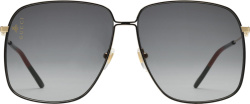 Gucci Black Gold Tone Gg Sunglasses