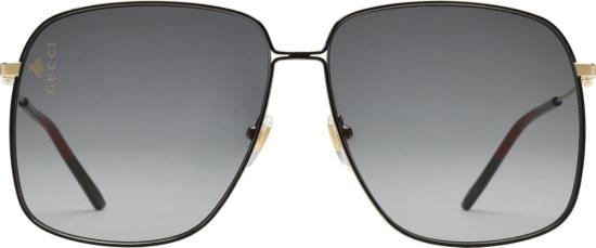Gucci Black Gold Tone Gg Sunglasses