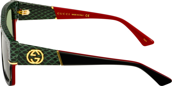 Gucci Black Green Snakeskin Sunglasses