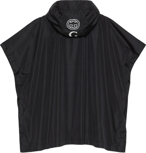 Gucci Black Hooded Nylon Poncho