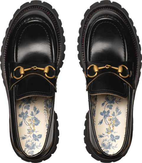 Gucci Black Leather And Gold Horsebit Fly Embroidered Platfrom Loafers
