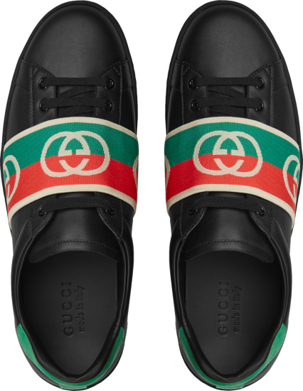 Gucci Black Leather And Web Strap Low Top Ace Sneakers