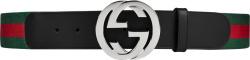 Web-Stripe & Black Leather GG Belt