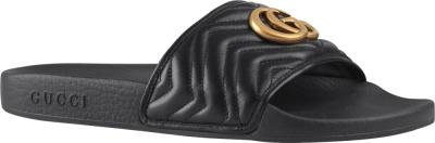 Gucci Black Leather Slides