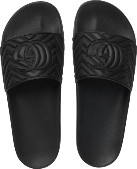 Gucci Black Matelassé Slides