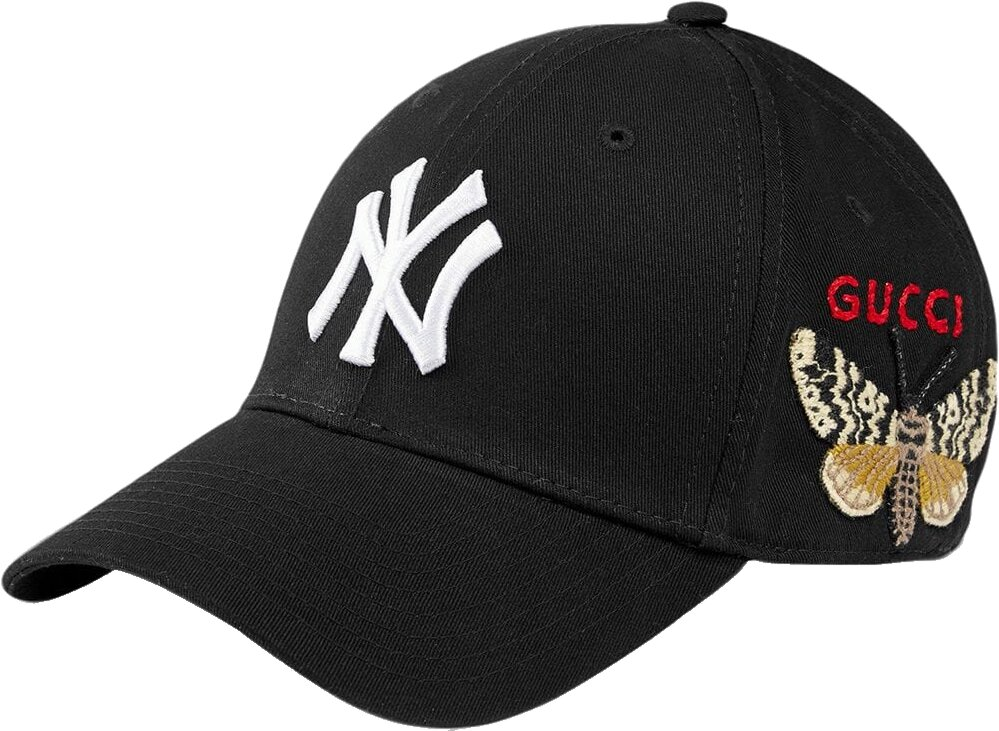 Gucci Black New York Yankees Hat With Butterfly Patch