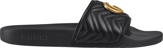 Gucci Black Quilted Gold Tone Gg Slides