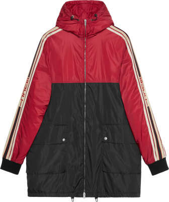Gucci Black Red Hooded Parka