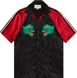 Gucci Black Red Panther Bowling Shirt
