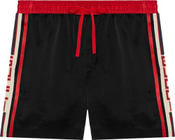 Gucci Black Red Side Stripe Acetate Shorts