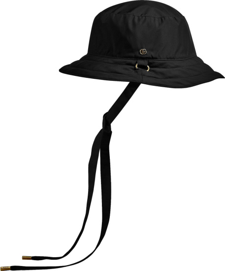 Gucci Black Reversible Gg Canvas Bucket Hat With Drawstrings