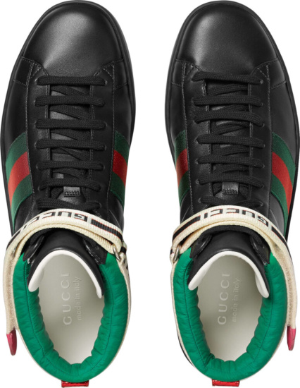Gucci Black Sneakers With Ankle Strap