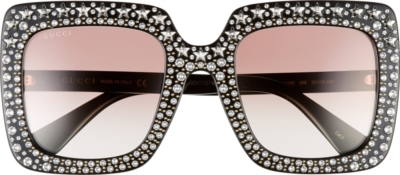 Gucci Black Square Sunglasses With Crystal Embedded Frames