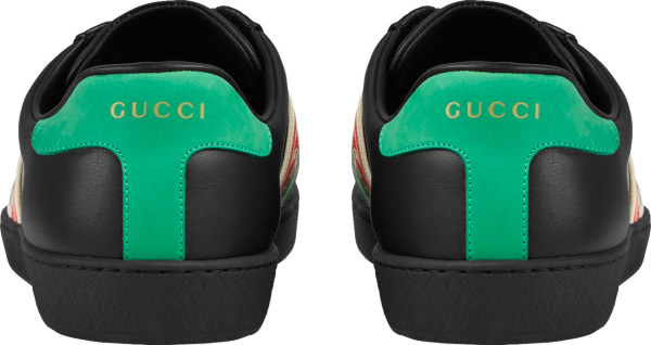 Gucci Black Web Strap Low Top Leather Sneakers