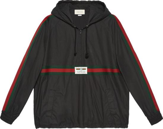 Gucci Black Web Stripe Anorak Jacket 594861 Xdbch 1043