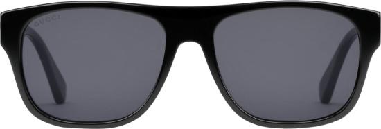 Gucci Black Web Stripe Rectangular Sunglasses