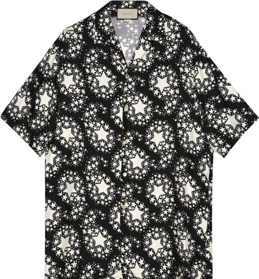 Gucci Black White Star Print Shirt