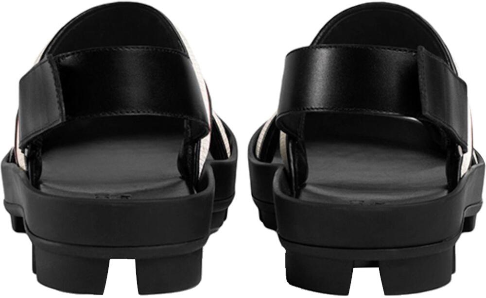 Gucci Black White Stripe Men Sandals