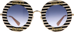 Gucci Black White Striped Round Sunglasses