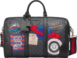 Gucci Blakc Gg Night Duffle Bag With Patches
