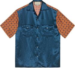 Gucci Bleu And Orange Bi Material Bowling Shirt
