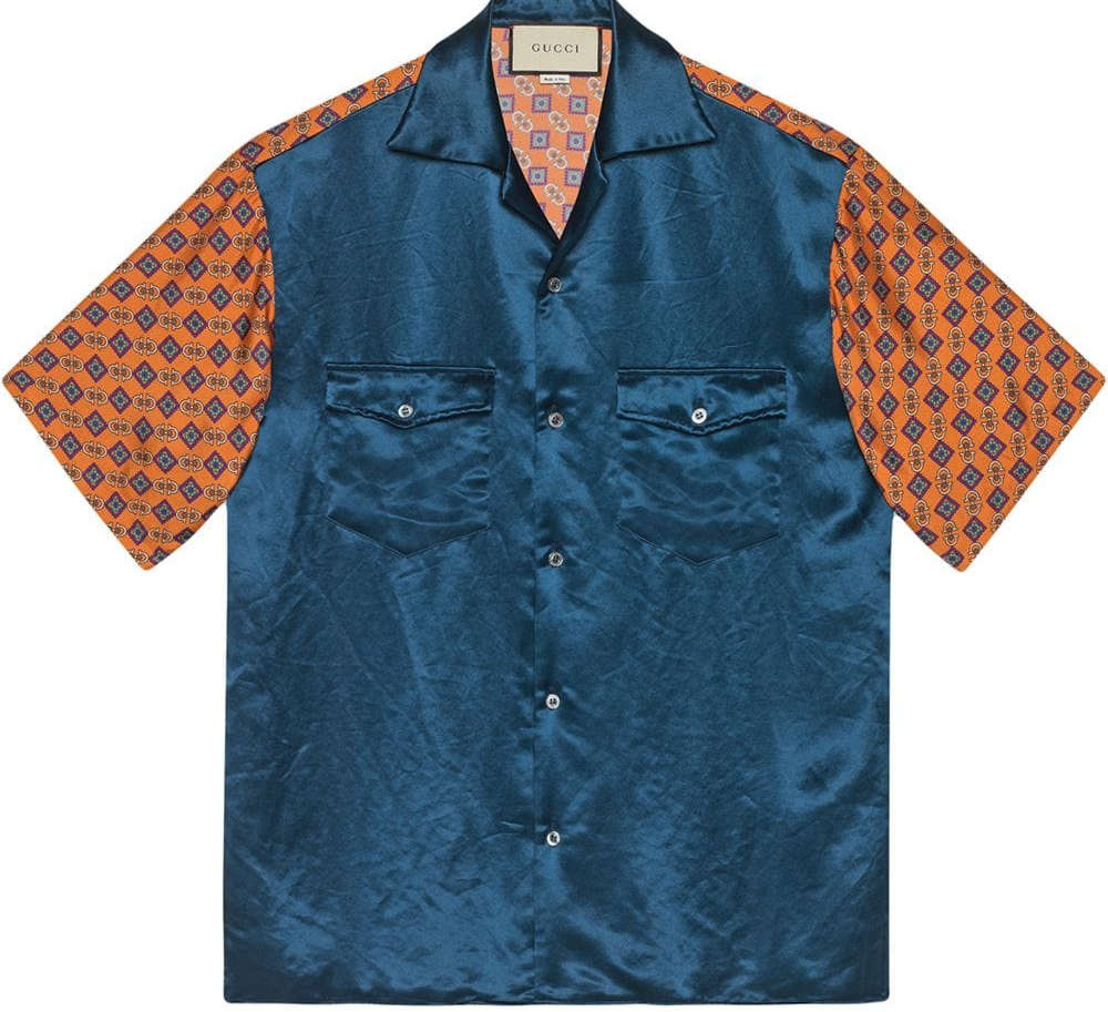 Gucci Bleu And Orange Bi Material Bowling Shirt