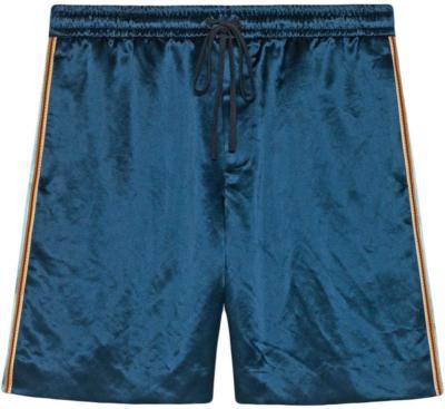 Gucci Blue And Brown Bi Material Printed Shorts