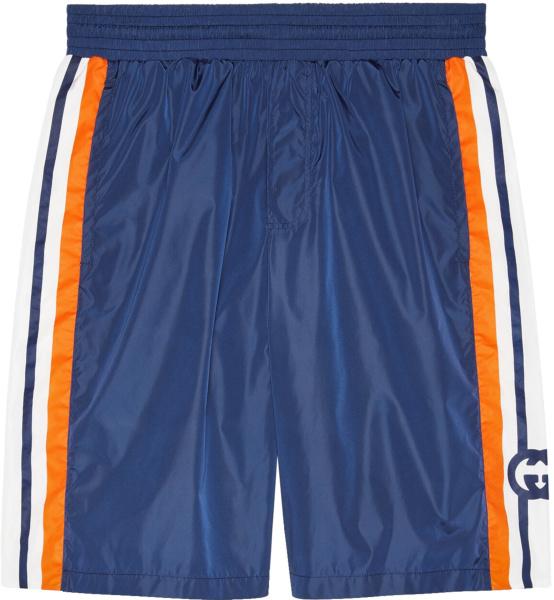 Gucci Blue And Orange Stripe Swim Shorts